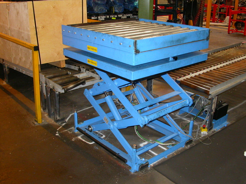 Double vertical scissor lift table with gravity roller track