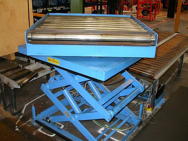 Double vertical scissor Lift Table with gravity roller track unit on turntable