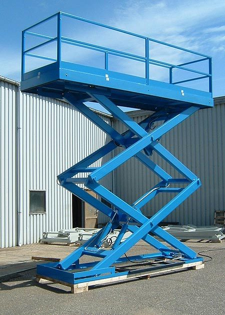 Double vertical scissor lift with captive guide rollers