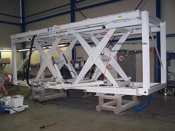 Horizontal lift table with two different methods of mechanical support