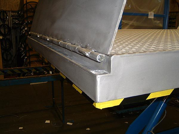Loading flap Bridge plate inset behind anti trap bar