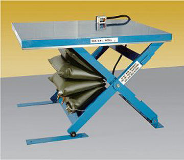 Low closed pneumatic air bag lift table