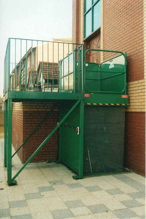 Outdoors Scissor Lift Table for commercial waste - refuse bins and disabled access