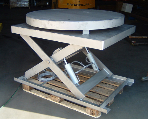 Stainless steel lifting platform with turn table