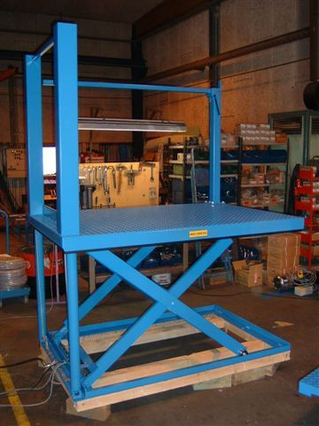 Vertical ram low closed lift table